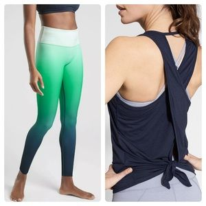 ATHLETA SET~ Ombré Leggings & Tie Back Tank Top XL
